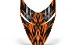 Polaris RMK Shift Hood CreatorX Graphics Kit Bolt Thrower Orange 150x90 - Polaris Shift RMK Switchback Assult Hood Graphics