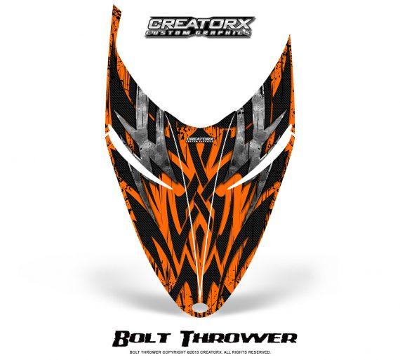 Polaris RMK Shift Hood CreatorX Graphics Kit Bolt Thrower Orange 570x513 - Polaris Shift RMK Switchback Assult Hood Graphics