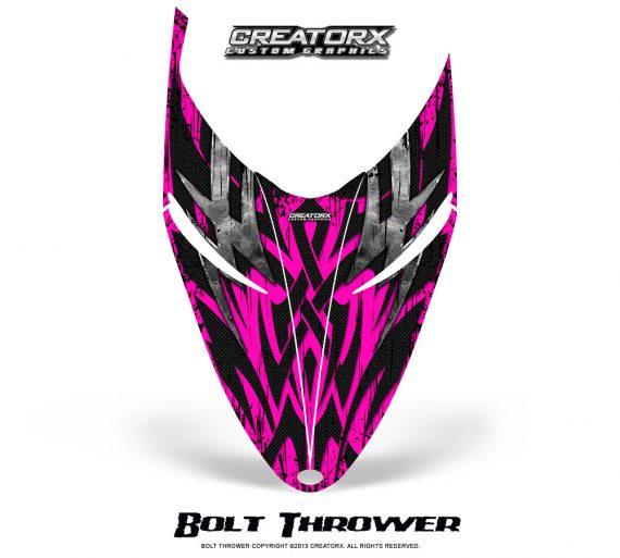 Polaris RMK Shift Hood CreatorX Graphics Kit Bolt Thrower Pink 570x513 - Polaris Shift RMK Switchback Assult Hood Graphics