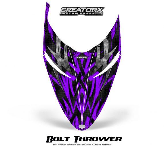 Polaris RMK Shift Hood CreatorX Graphics Kit Bolt Thrower Purple 570x513 - Polaris Shift RMK Switchback Assult Hood Graphics