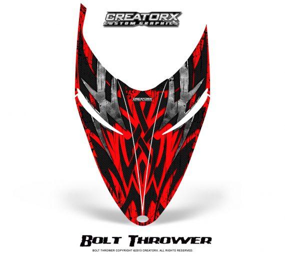 Polaris RMK Shift Hood CreatorX Graphics Kit Bolt Thrower Red 570x513 - Polaris Shift RMK Switchback Assult Hood Graphics