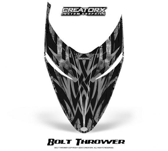 Polaris RMK Shift Hood CreatorX Graphics Kit Bolt Thrower Silver 570x513 - Polaris Shift RMK Switchback Assult Hood Graphics