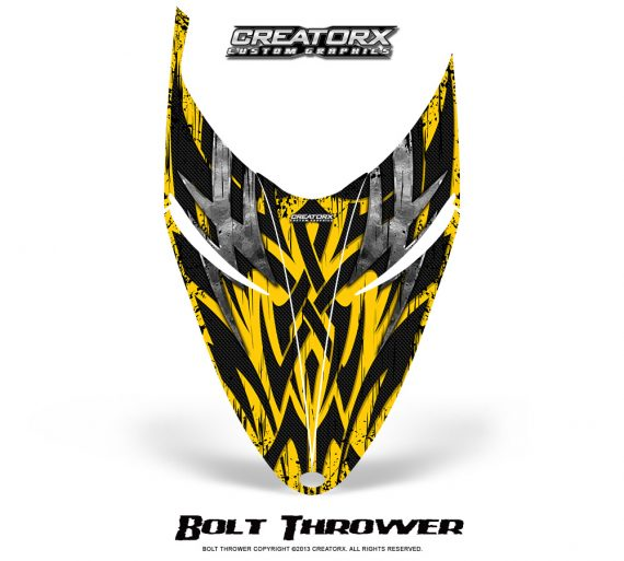 Polaris RMK Shift Hood CreatorX Graphics Kit Bolt Thrower Yellow 570x513 - Polaris Shift RMK Switchback Assult Hood Graphics
