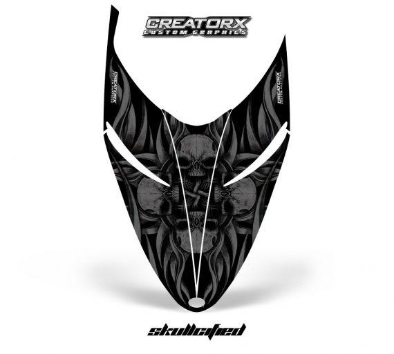 Polaris RMK Shift Hood CreatorX Graphics Kit Skullcified Black 570x513 - Polaris Shift RMK Switchback Assult Hood Graphics