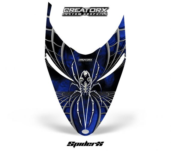 Polaris RMK Shift Hood CreatorX Graphics Kit SpiderX Blue 570x513 - Polaris Shift RMK Switchback Assult Hood Graphics