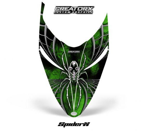 Polaris RMK Shift Hood CreatorX Graphics Kit SpiderX Green 570x513 - Polaris Shift RMK Switchback Assult Hood Graphics