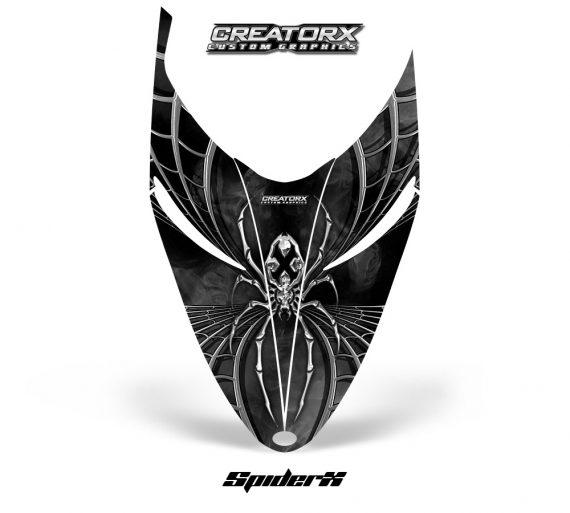 Polaris RMK Shift Hood CreatorX Graphics Kit SpiderX Silver 570x513 - Polaris Shift RMK Switchback Assult Hood Graphics