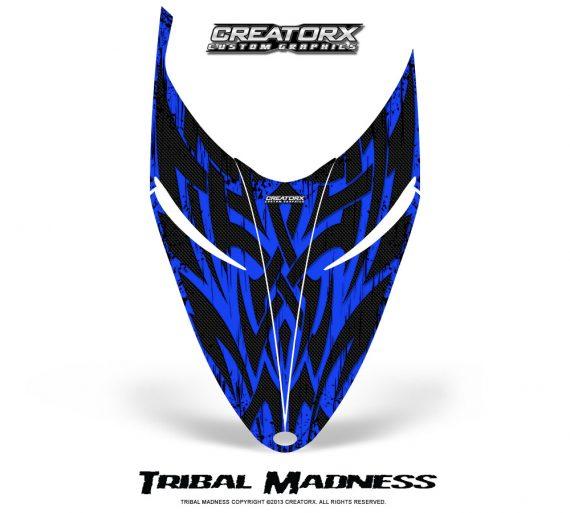 Polaris RMK Shift Hood CreatorX Graphics Kit Tribal Madness Blue 570x513 - Polaris Shift RMK Switchback Assult Hood Graphics