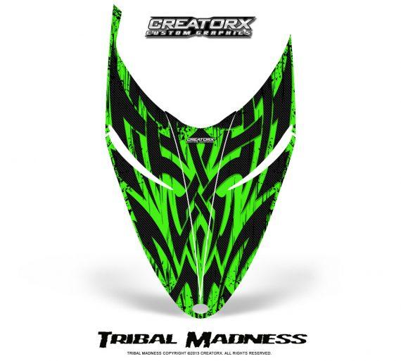 Polaris RMK Shift Hood CreatorX Graphics Kit Tribal Madness Green 570x513 - Polaris Shift RMK Switchback Assult Hood Graphics