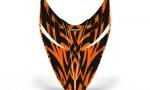 Polaris RMK Shift Hood CreatorX Graphics Kit Tribal Madness Orange 150x90 - Polaris Shift RMK Switchback Assult Hood Graphics