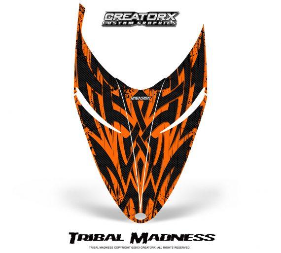 Polaris RMK Shift Hood CreatorX Graphics Kit Tribal Madness Orange 570x513 - Polaris Shift RMK Switchback Assult Hood Graphics
