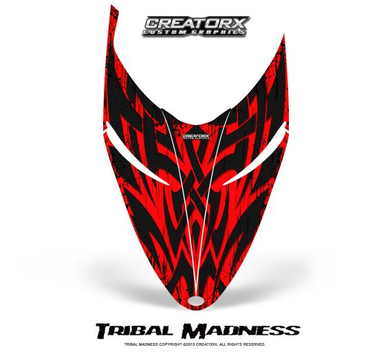 Polaris RMK Shift Hood CreatorX Graphics Kit Tribal Madness Red 570x513 - Polaris Shift RMK Switchback Assult Hood Graphics
