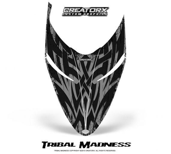 Polaris RMK Shift Hood CreatorX Graphics Kit Tribal Madness Silver 570x513 - Polaris Shift RMK Switchback Assult Hood Graphics