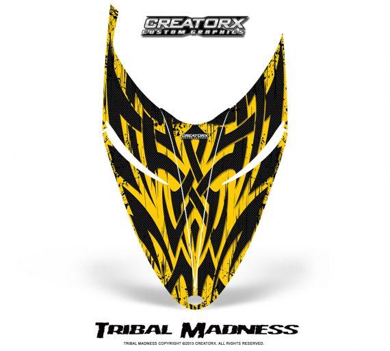 Polaris RMK Shift Hood CreatorX Graphics Kit Tribal Madness Yellow 570x513 - Polaris Shift RMK Switchback Assult Hood Graphics
