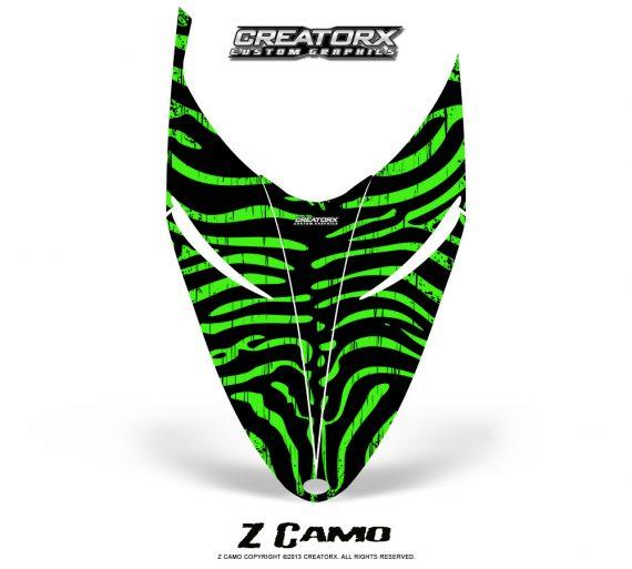 Polaris RMK Shift Hood CreatorX Graphics Kit ZCamo Green 570x513 - Polaris Shift RMK Switchback Assult Hood Graphics