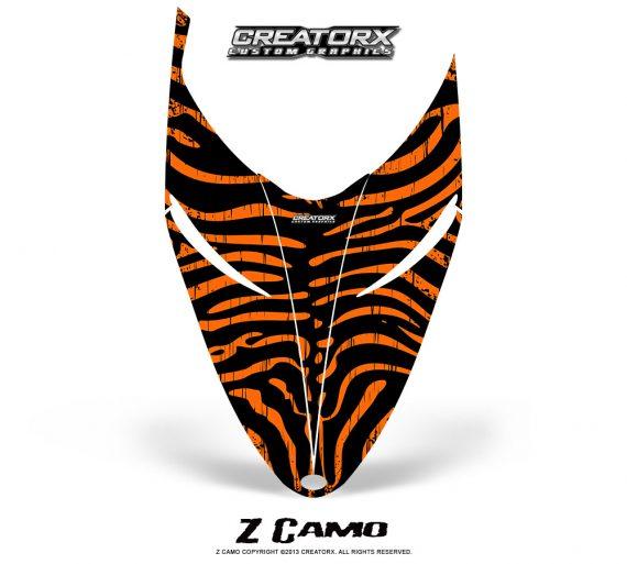 Polaris RMK Shift Hood CreatorX Graphics Kit ZCamo Orange 570x513 - Polaris Shift RMK Switchback Assult Hood Graphics