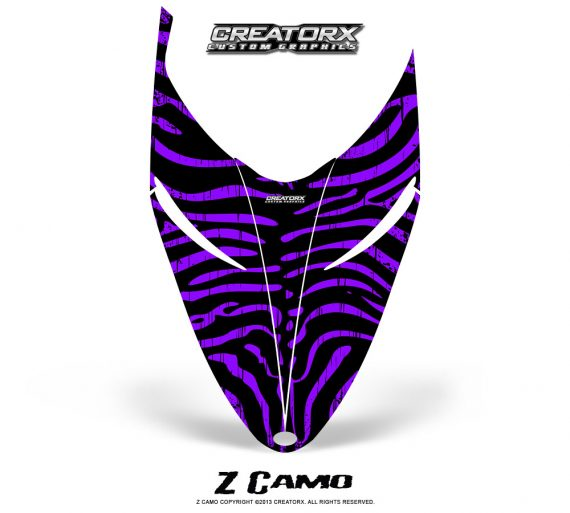 Polaris RMK Shift Hood CreatorX Graphics Kit ZCamo Purple 570x513 - Polaris Shift RMK Switchback Assult Hood Graphics