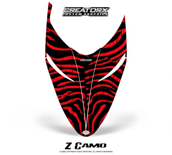 Polaris RMK Shift Hood CreatorX Graphics Kit ZCamo Red 570x513 - Polaris Shift RMK Switchback Assult Hood Graphics