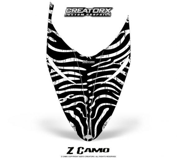 Polaris RMK Shift Hood CreatorX Graphics Kit ZCamo White 570x513 - Polaris Shift RMK Switchback Assult Hood Graphics