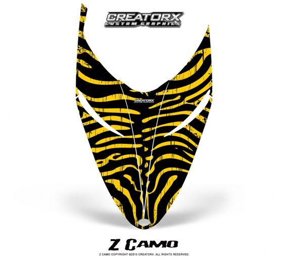 Polaris RMK Shift Hood CreatorX Graphics Kit ZCamo Yellow 570x513 - Polaris Shift RMK Switchback Assult Hood Graphics