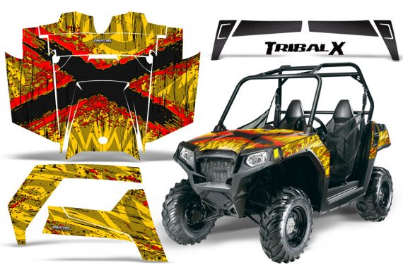 Polaris RZR 570 CreatorX Graphics Kit TribalX Red Yellow1 570x376 - Polaris RZR 570 UTV Graphics
