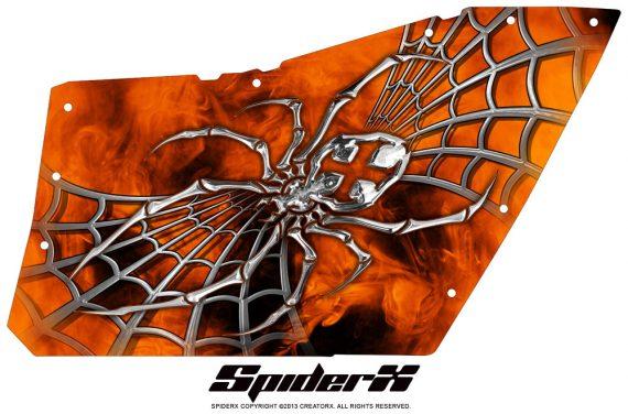 Polaris RZR OEM Door CreatorX Graphics SpiderX Orange 570x376 - Polaris XP RZR 800/900 CREATORX Graphics for OEM Polaris Doors