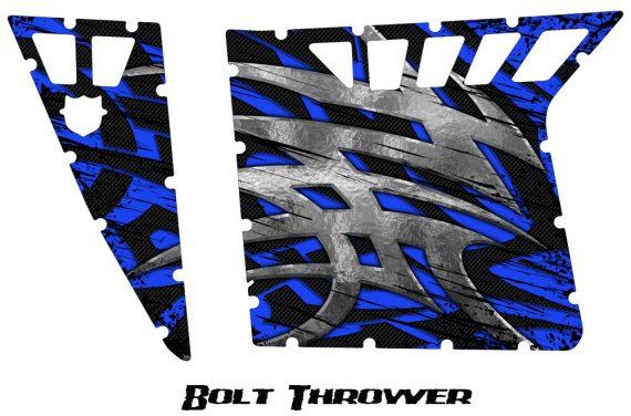 Polaris RZR Pro Armor CreatorX Graphics Bolt Thrower Blue 570x376 - Polaris RZR 570 800 900 Pro Armor Door CREATORX Graphics Kit