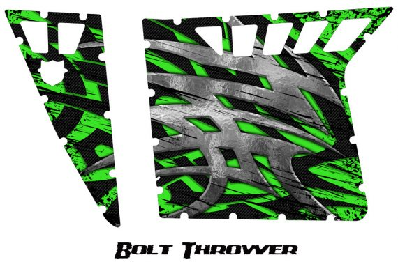 Polaris RZR Pro Armor CreatorX Graphics Bolt Thrower Green 570x376 - Polaris RZR 570 800 900 Pro Armor Door CREATORX Graphics Kit