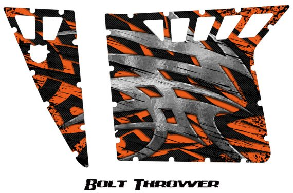 Polaris RZR Pro Armor CreatorX Graphics Bolt Thrower Orange 570x376 - Polaris RZR 570 800 900 Pro Armor Door CREATORX Graphics Kit