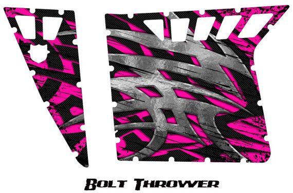 Polaris RZR Pro Armor CreatorX Graphics Bolt Thrower Pink 570x376 - Polaris RZR 570 800 900 Pro Armor Door CREATORX Graphics Kit