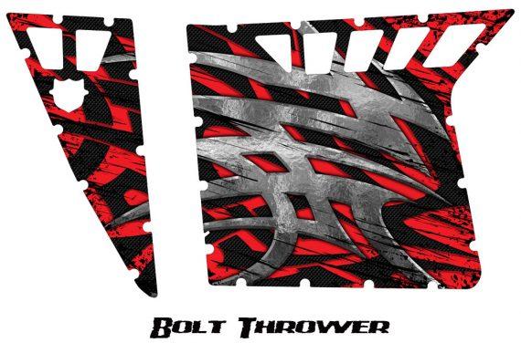 Polaris RZR Pro Armor CreatorX Graphics Bolt Thrower Red 570x376 - Polaris RZR 570 800 900 Pro Armor Door CREATORX Graphics Kit