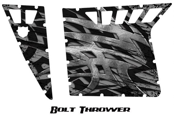 Polaris RZR Pro Armor CreatorX Graphics Bolt Thrower Silver 570x376 - Polaris RZR 570 800 900 Pro Armor Door CREATORX Graphics Kit