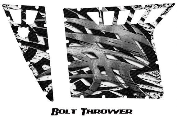 Polaris RZR Pro Armor CreatorX Graphics Bolt Thrower White 570x376 - Polaris RZR 570 800 900 Pro Armor Door CREATORX Graphics Kit