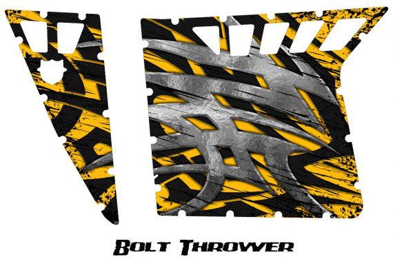 Polaris RZR Pro Armor CreatorX Graphics Bolt Thrower Yellow 570x376 - Polaris RZR 570 800 900 Pro Armor Door CREATORX Graphics Kit