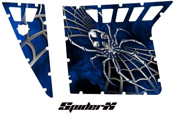 Polaris RZR Pro Armor CreatorX Graphics SpiderX Blue 570x376 - Polaris RZR 570 800 900 Pro Armor Door CREATORX Graphics Kit