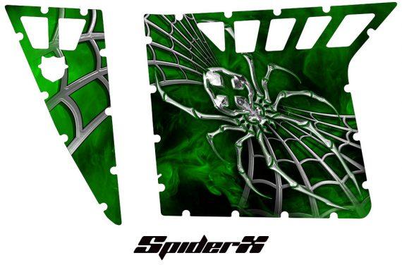 Polaris RZR Pro Armor CreatorX Graphics SpiderX Green 570x376 - Polaris RZR 570 800 900 Pro Armor Door CREATORX Graphics Kit