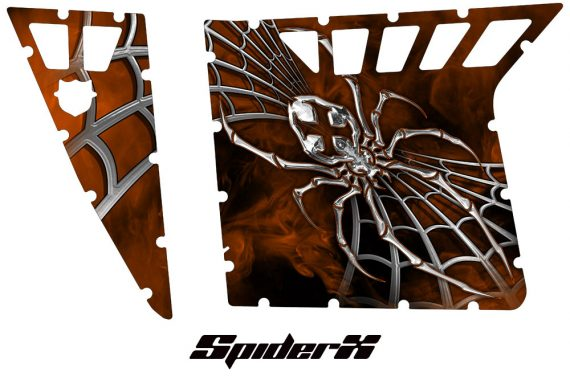 Polaris RZR Pro Armor CreatorX Graphics SpiderX Orange 570x376 - Polaris RZR 570 800 900 Pro Armor Door CREATORX Graphics Kit