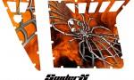 Polaris RZR Pro Armor CreatorX Graphics SpiderX Orange Custom 150x90 - Polaris RZR 570 800 900 Pro Armor Door CREATORX Graphics Kit
