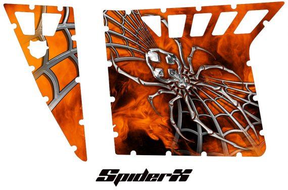 Polaris RZR Pro Armor CreatorX Graphics SpiderX Orange Custom 570x376 - Polaris RZR 570 800 900 Pro Armor Door CREATORX Graphics Kit