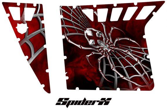 Polaris RZR Pro Armor CreatorX Graphics SpiderX Red 570x376 - Polaris RZR 570 800 900 Pro Armor Door CREATORX Graphics Kit