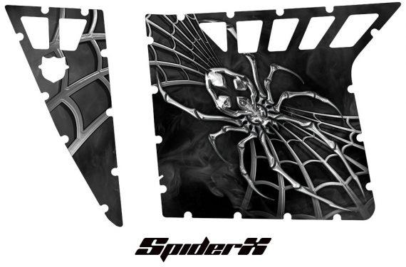Polaris RZR Pro Armor CreatorX Graphics SpiderX Silver 570x376 - Polaris RZR 570 800 900 Pro Armor Door CREATORX Graphics Kit