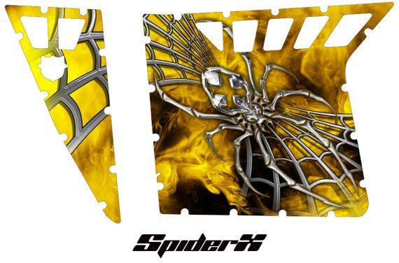 Polaris RZR Pro Armor CreatorX Graphics SpiderX Yellow 570x376 - Polaris RZR 570 800 900 Pro Armor Door CREATORX Graphics Kit