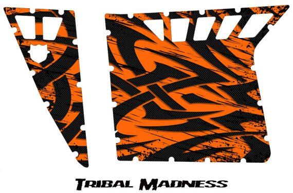 Polaris RZR Pro Armor CreatorX Graphics Tribal Madness Orange 570x376 - Polaris RZR 570 800 900 Pro Armor Door CREATORX Graphics Kit