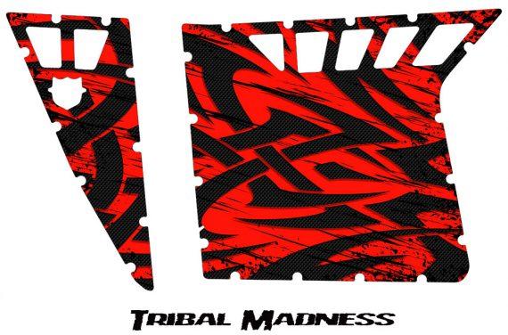 Polaris RZR Pro Armor CreatorX Graphics Tribal Madness Red 570x376 - Polaris RZR 570 800 900 Pro Armor Door CREATORX Graphics Kit
