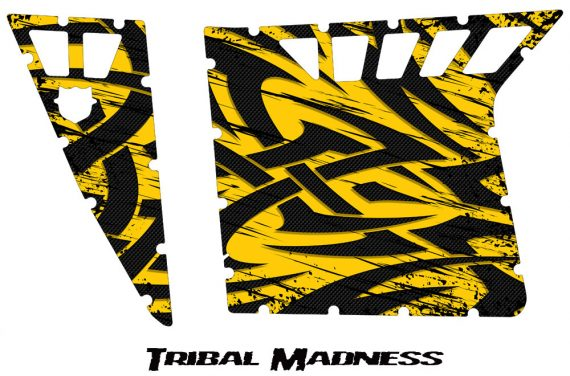 Polaris RZR Pro Armor CreatorX Graphics Tribal Madness Yellow 570x376 - Polaris RZR 570 800 900 Pro Armor Door CREATORX Graphics Kit