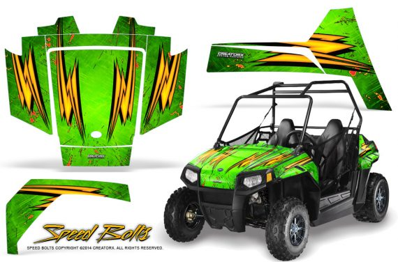 Polaris RZR170 CREATORX Graphics Kit Speed Bolts Green 570x376 - Polaris Youth RZR 170 Graphics