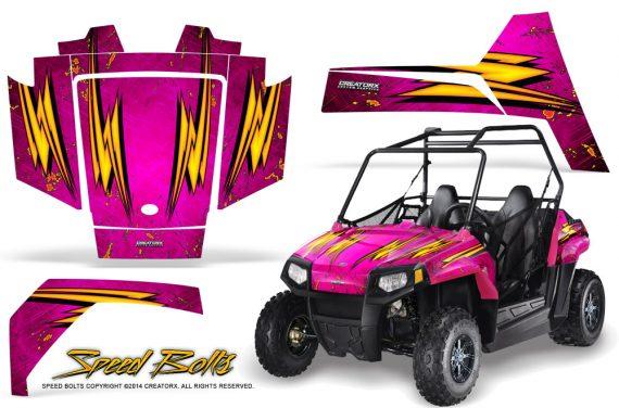 Polaris RZR170 CREATORX Graphics Kit Speed Bolts Pink 570x376 - Polaris Youth RZR 170 Graphics