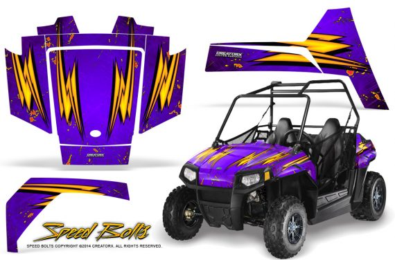 Polaris RZR170 CREATORX Graphics Kit Speed Bolts Purple 570x376 - Polaris Youth RZR 170 Graphics