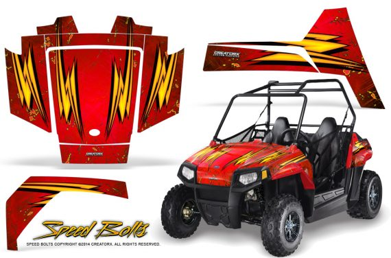 Polaris RZR170 CREATORX Graphics Kit Speed Bolts Red 570x376 - Polaris Youth RZR 170 Graphics