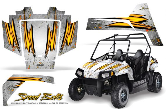 Polaris RZR170 CREATORX Graphics Kit Speed Bolts White 570x376 - Polaris Youth RZR 170 Graphics